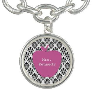 Pink Apple Damask Teacher Charm Bracelet