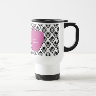 Pink Apple Damask Teacher Travel Mug