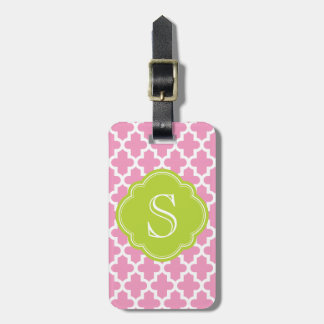 Pink & Apple Green Modern Moroccan Custom Monogram Luggage Tag