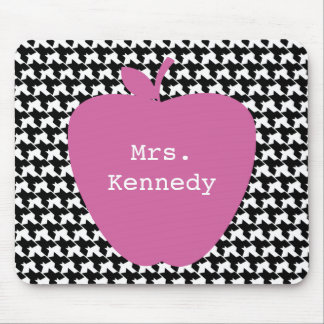Pink Apple Houndstooth Teacher Mouse Pads