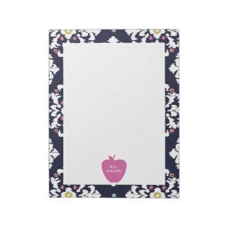 Pink Apple Ikat Teacher Notepad