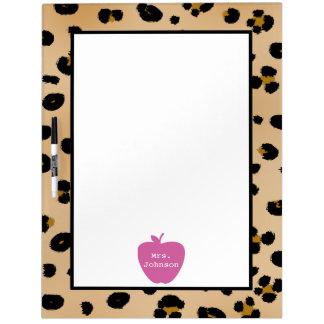 Pink Apple Leopard Print Teacher Dry Erase Board