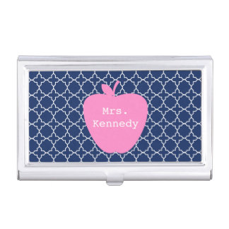 Pink Apple Navy Quatrefoil Business Card Holder