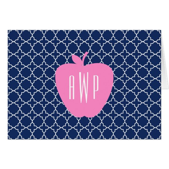 Pink Apple Navy Quatrefoil Monogram Teacher Card