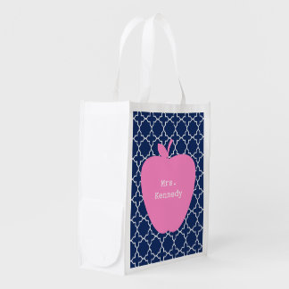 Pink Apple Navy Quatrefoil Reusable Grocery Bag