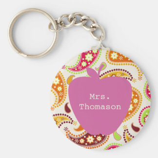 Pink Apple Paisley Teacher Key Ring