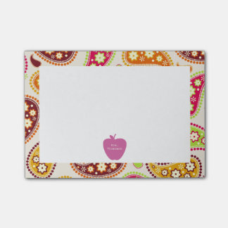 Pink Apple Paisley Teacher Post-it Notes