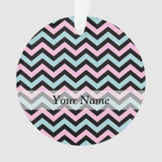 Pink aqua and black chevron ornament