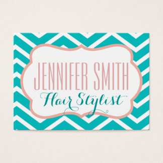 Pink Aqua Chevron Hairdresser Salon Appointment Business Card