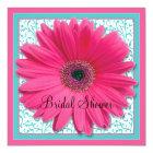 Pink Aqua Gerbera Daisy Bridal Shower Invitation