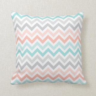 Pink Aqua Gray Ombré Chevron Zigzag Stripes Pillow