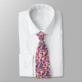 Pink Aqua Paisley Print Tie