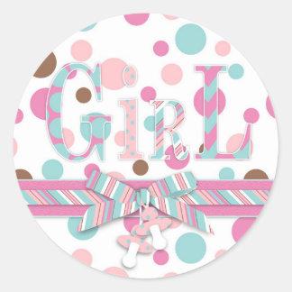 Pink & Aqua Polka Dots Baby Shower Round Sticker