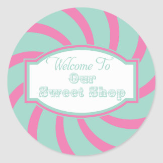 Pink Aqua Welcome to Our sweet shop Sticker