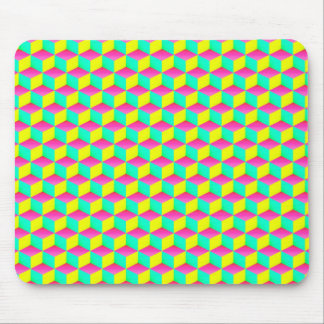 Pink Aqua Yellow Shaded 3D Look Cubes Mouse Pad