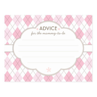 Pink Argyle Baby Shower Advice for Mommy to Be Postcard