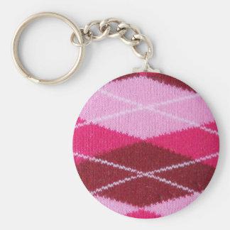 Pink Argyle Coziness Basic Round Button Key Ring