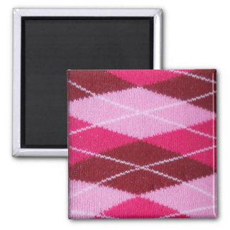 Pink Argyle Coziness Fridge Magnet