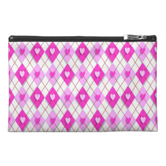 Pink Argyle Hearts Travel Accessory Bag