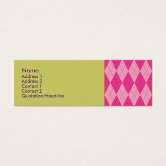 Pink Argyle Mini Business Card