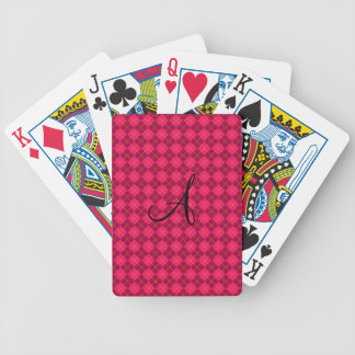 Pink argyle monogram gifts bicycle playing cards