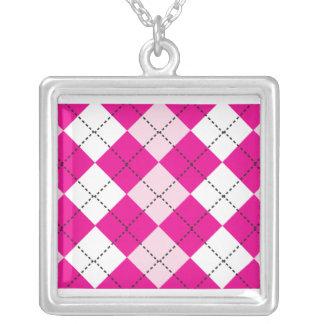 Pink Argyle Square Pendant Necklace