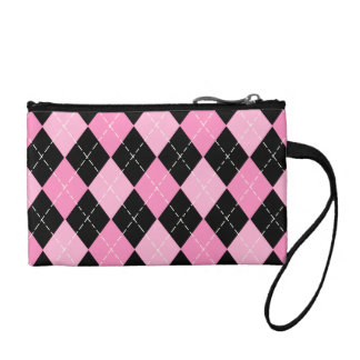 Pink Argyle Pattern Bagettes Key Coin Clutch Coin Purses