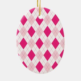 Pink Argyle Pattern Ceramic Oval Decoration