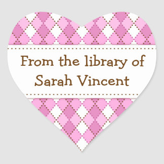 Pink argyle pattern heart shaped bookplate labels