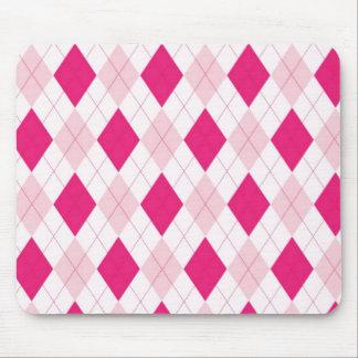 Pink Argyle Pattern Mouse Pad