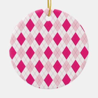 Pink Argyle Pattern Round Ceramic Decoration
