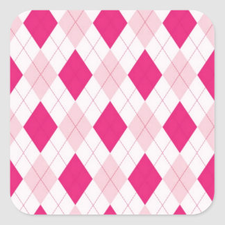Pink Argyle Pattern Square Sticker