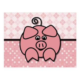 Pink Argyle Piggy Card Postcard