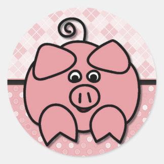 Pink Argyle Piggy Card Round Sticker