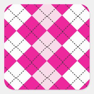 Pink Argyle Square Sticker