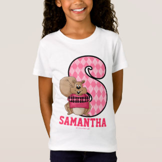 "Pink Argyle Squirrel Monogram ""S"" Kid's Apparel T-Shirt"