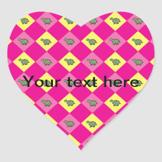Pink argyle turtle pattern heart sticker