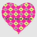Pink argyle turtle pattern heart stickers