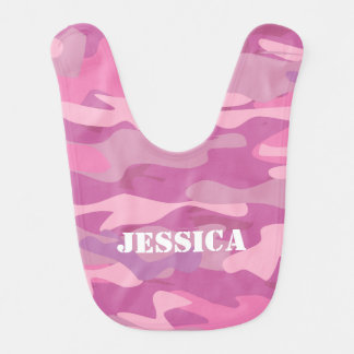 Pink army camo camouflage baby bib for girl