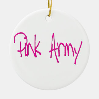Pink Army representing women of the army! Double-Sided Ceramic Round Christmas Ornament