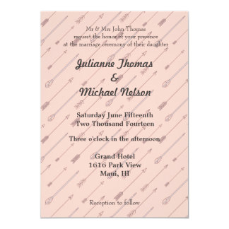 "Pink Arrows 5"" X 7"" Invitation Card"