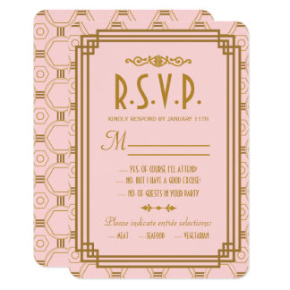 Pink Art Deco Wedding RSVP Cards