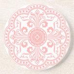 Pink Art Nouvea Floral Pattern Coaster