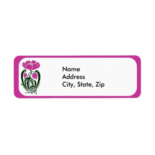 Pink Art Nouveau Flower Return Address Label