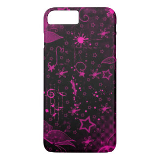 pink art on black background iPhone 7 plus case