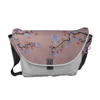 Pink Asian design,  Romantic flowers on Messenger Bags