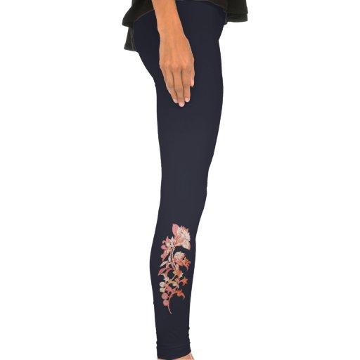 Pink Asian Flower Sprig Leggings Leggings