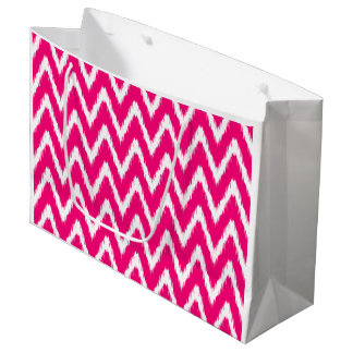 Pink Asian Moods Ikat Chevrons Large Gift Bag