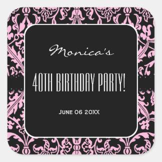 Pink asnd Black Damask 40th Birthday Party V01E Square Sticker