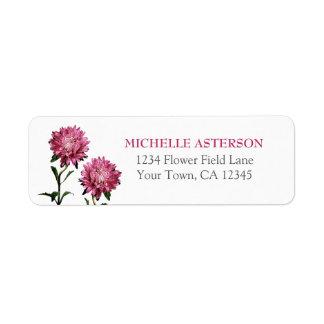 Pink Aster Return Address Label